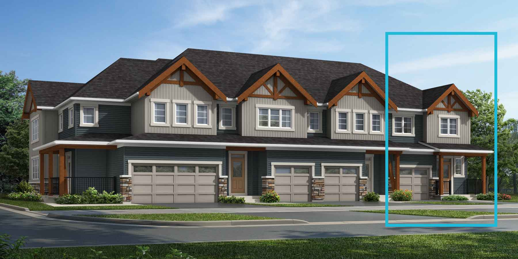 Atlas End Plan TownHomes at Carrington in Calgary Alberta by Mattamy Homes