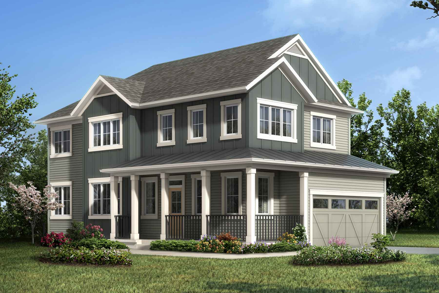 Berkley Corner Plan elevationfarmhouse_carrington_berkleycorner_main at Carrington in Calgary Alberta by Mattamy Homes
