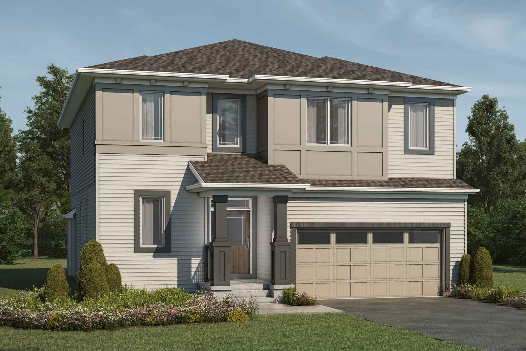 Bishop Plan Elevation Front at Carrington in Calgary Alberta by Mattamy Homes