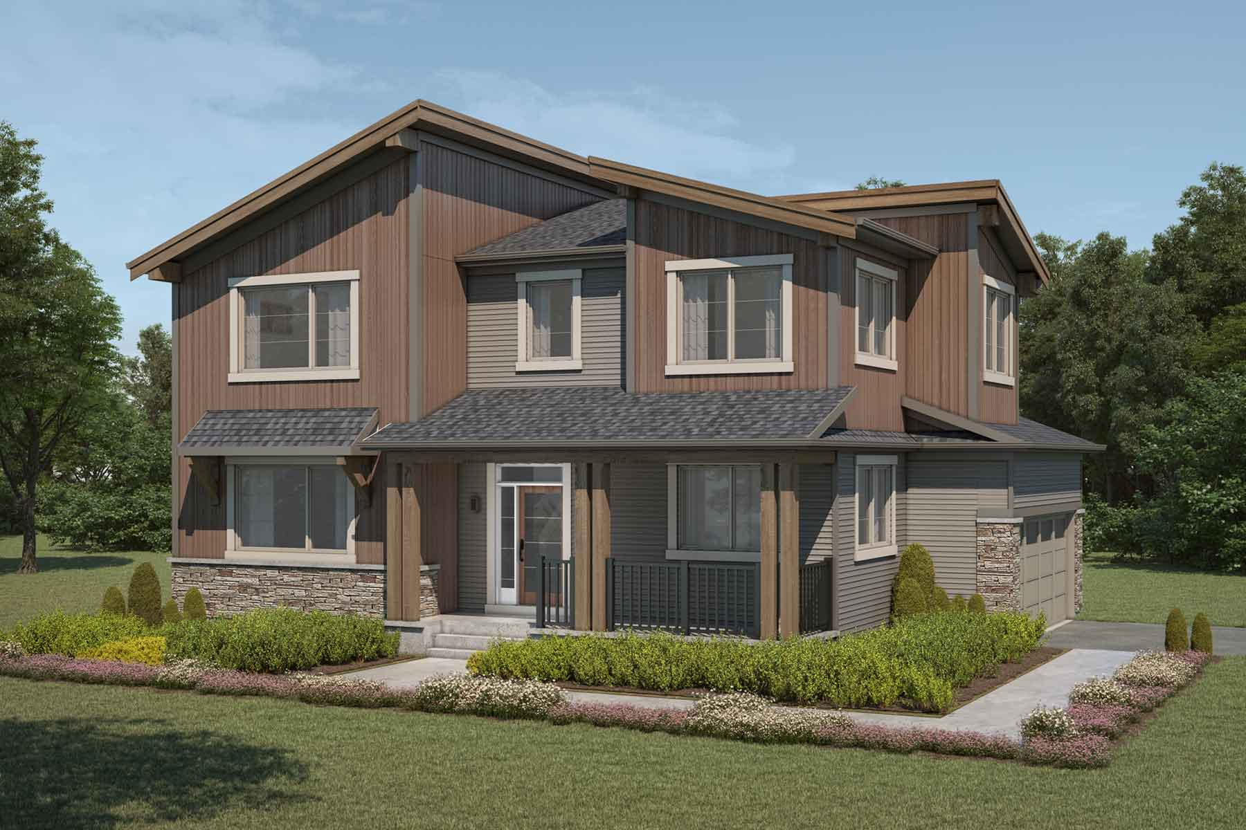 Borgeau Plan Elevation Front at Carrington in Calgary Alberta by Mattamy Homes