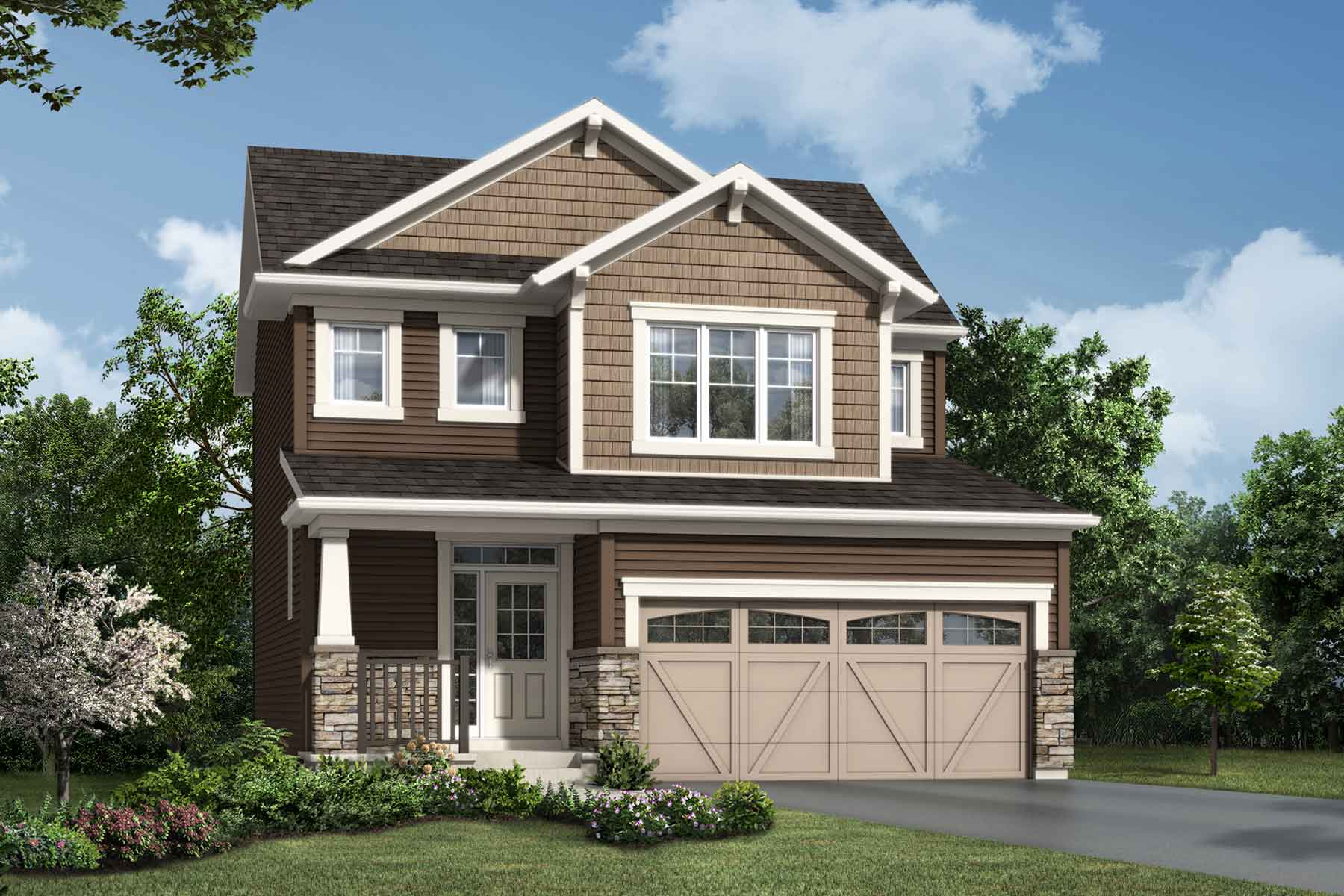 Cypress Plan Elevation Front at Carrington in Calgary Alberta by Mattamy Homes