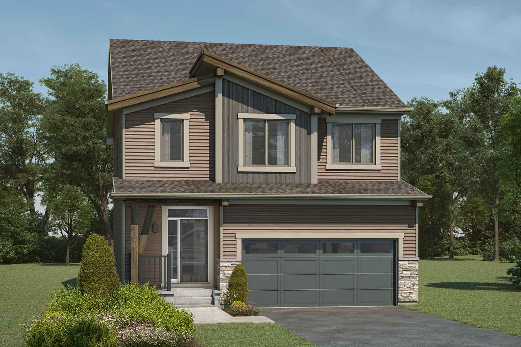Fullerton Plan Elevation Front at Carrington in Calgary Alberta by Mattamy Homes