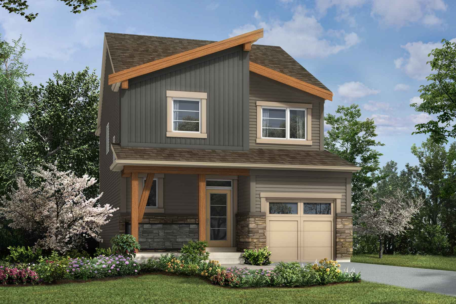 Hudson Plan Elevation Front at Carrington in Calgary Alberta by Mattamy Homes