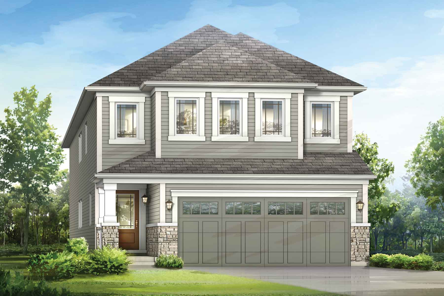 Lennox Plan Elevation Front at Carrington in Calgary Alberta by Mattamy Homes