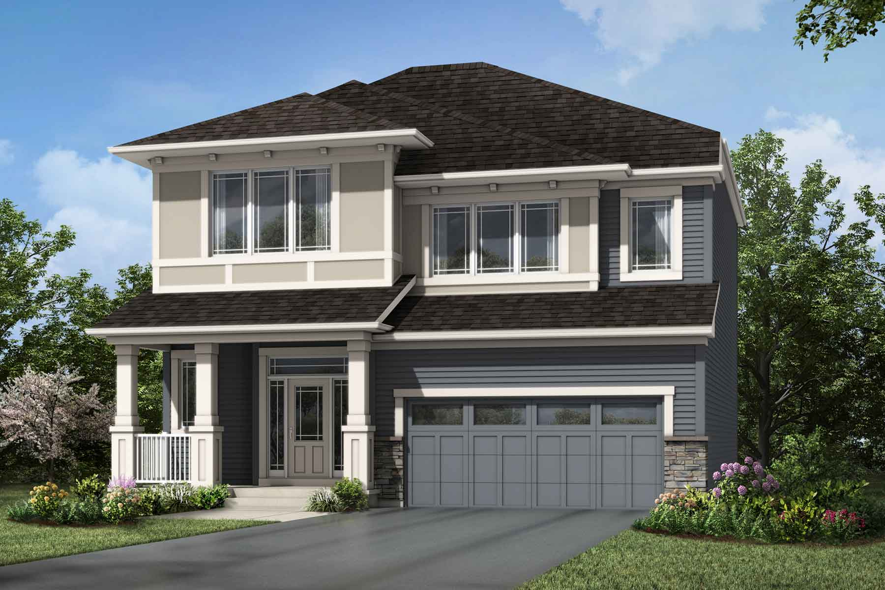 Ptarmigan Plan Elevation Front at Carrington in Calgary Alberta by Mattamy Homes