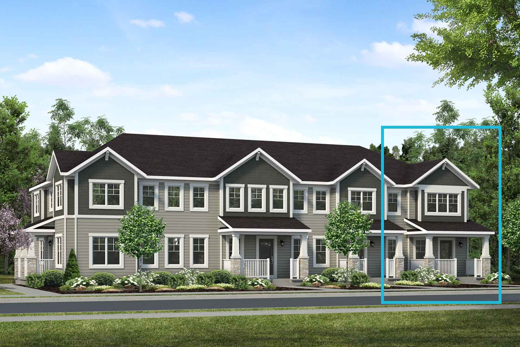 Vanier End Plan TownHomes at Carrington in Calgary Alberta by Mattamy Homes