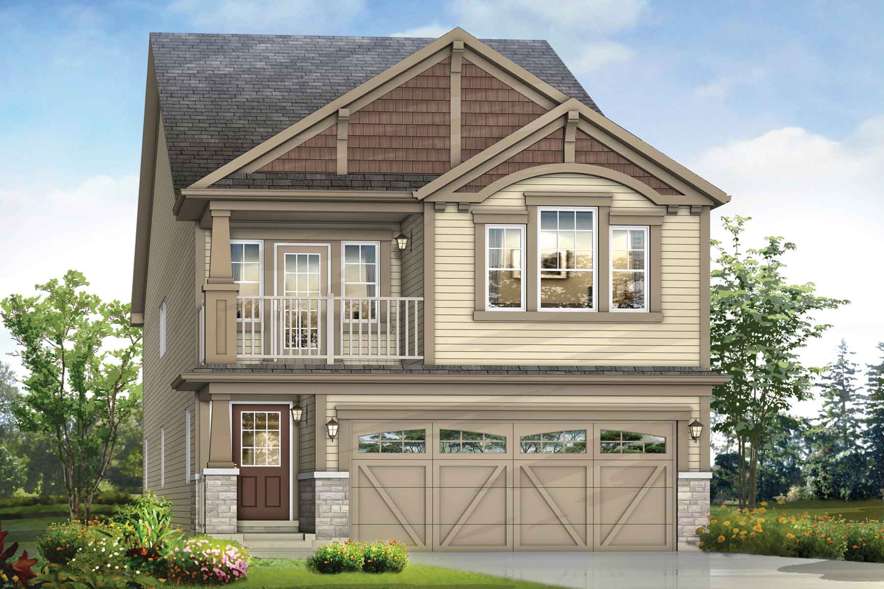 Mission Plan Elevation Front at Southwinds in Airdrie Alberta by Mattamy Homes