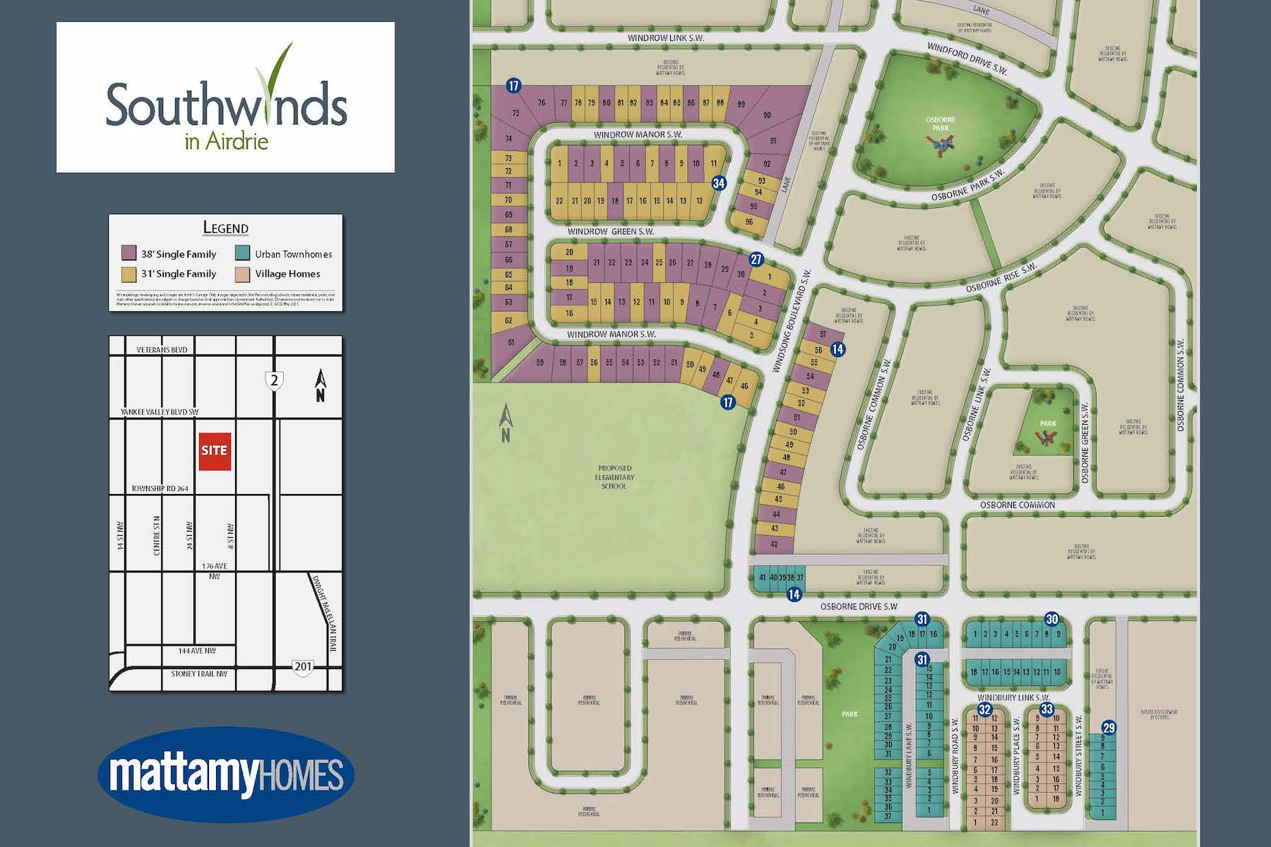 Southwinds Lot Map in Airdrie Alberta by Mattamy Homes