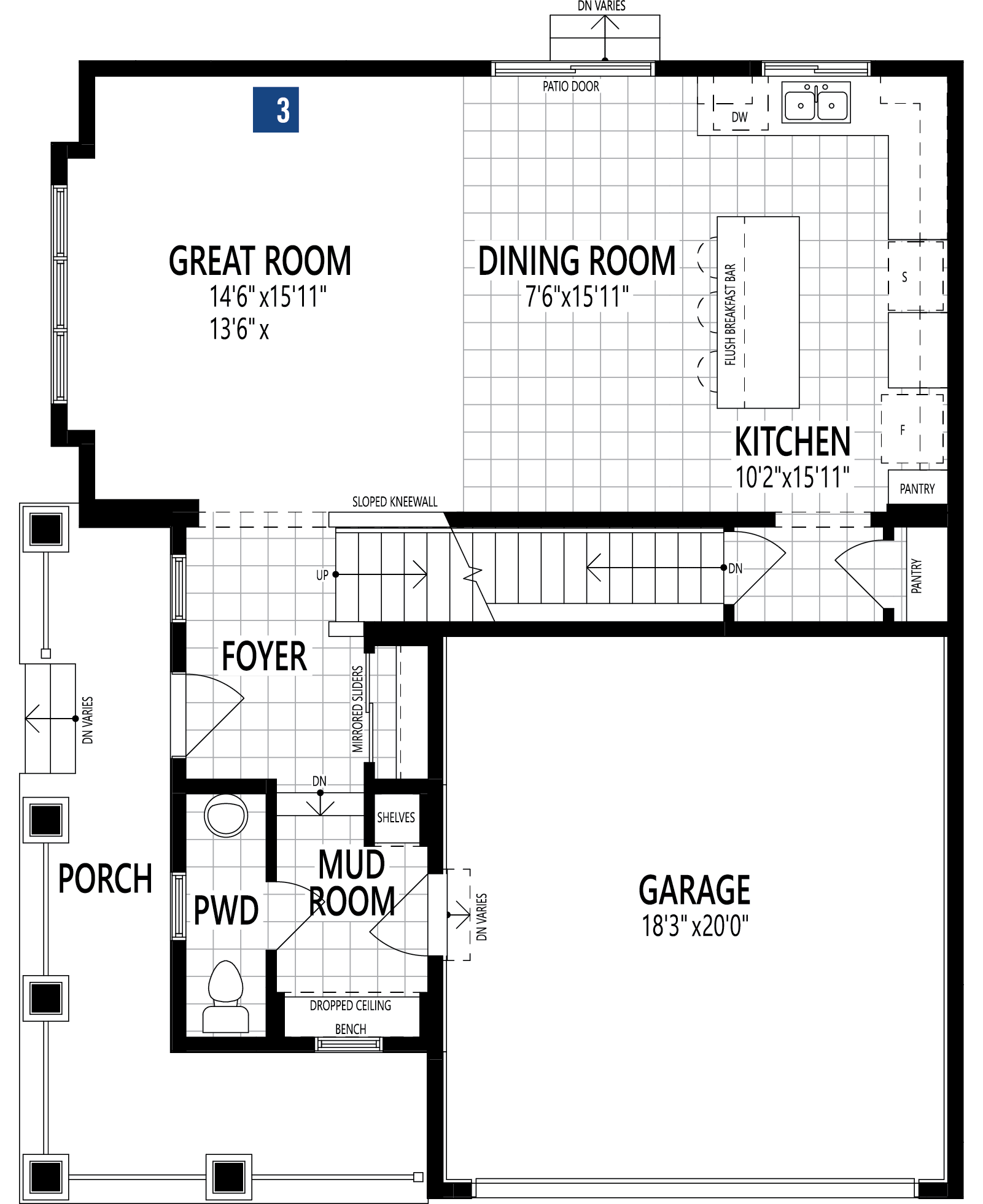 Monarch Plan Floor Plan at Yorkville in Calgary Alberta by Mattamy Homes