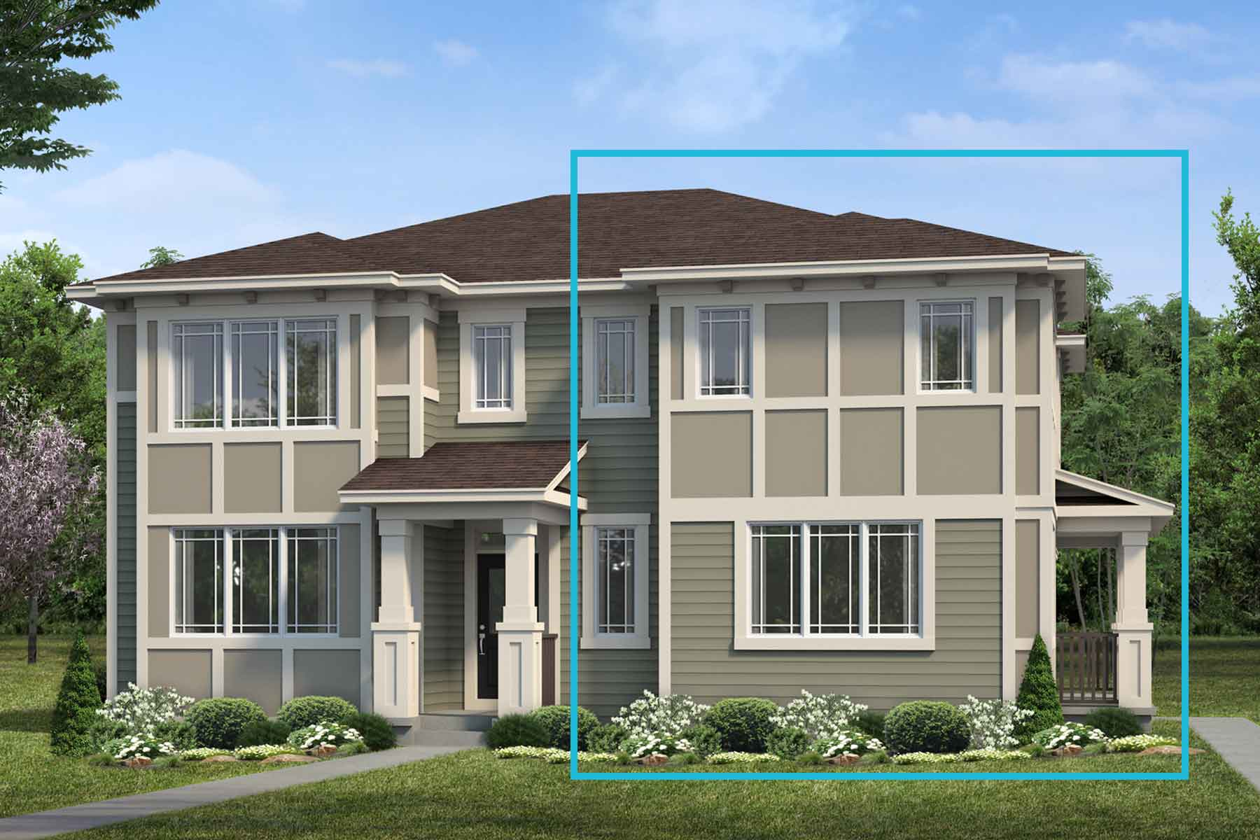 Raymond End Plan elevationprairie_yorkville_sundance at Stillwater in Edmonton Alberta by Mattamy Homes