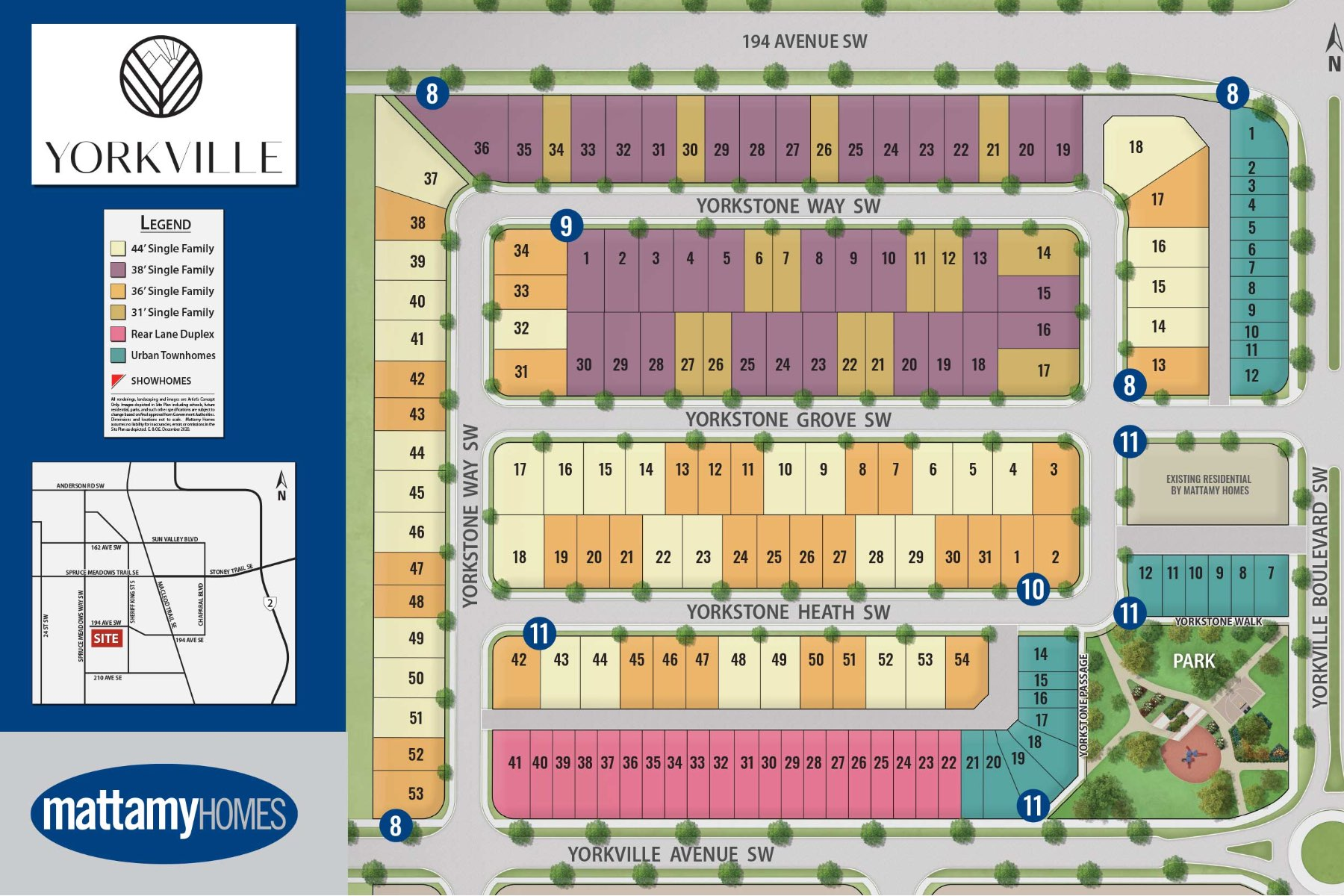 Yorkville Lot Map in Calgary Alberta by Mattamy Homes