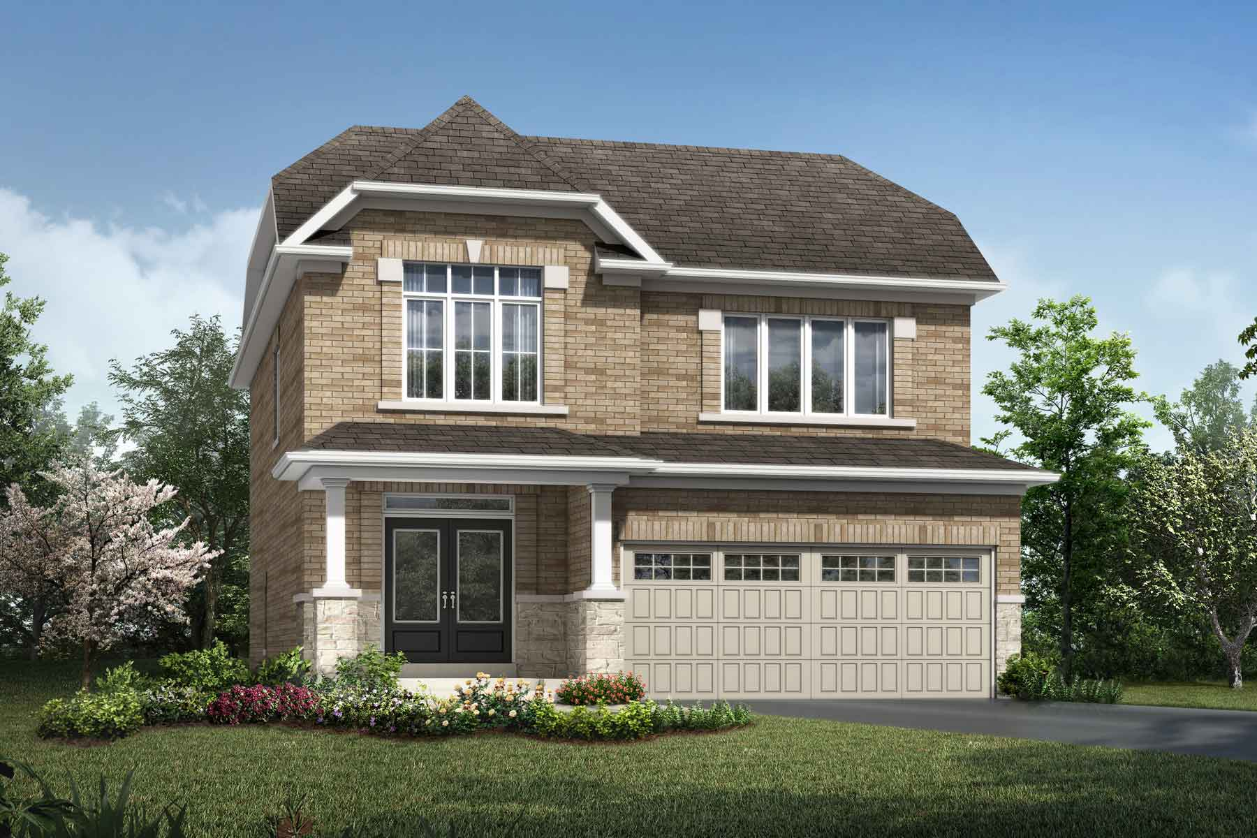 Granby Plan Elevation Front at Hawthorne South Village Sixteen Mile Creek in Milton Ontario by Mattamy Homes