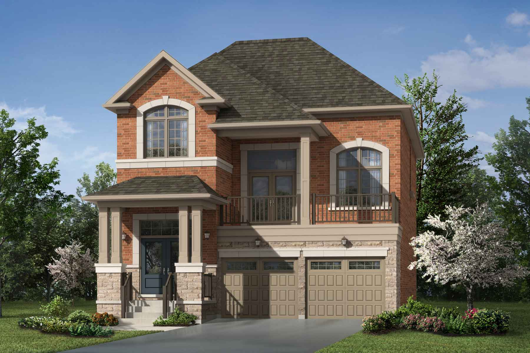 Greenfield Plan Elevation Front at Seaton Whitevale in Pickering Ontario by Mattamy Homes