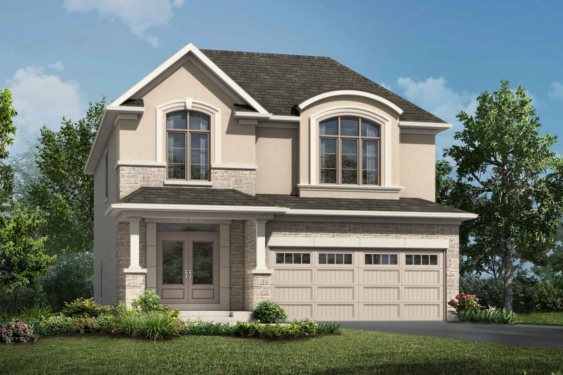 Granby Plan ElevationFrenchChateau_Soleil_Granby_Main at Soleil in Milton Ontario by Mattamy Homes