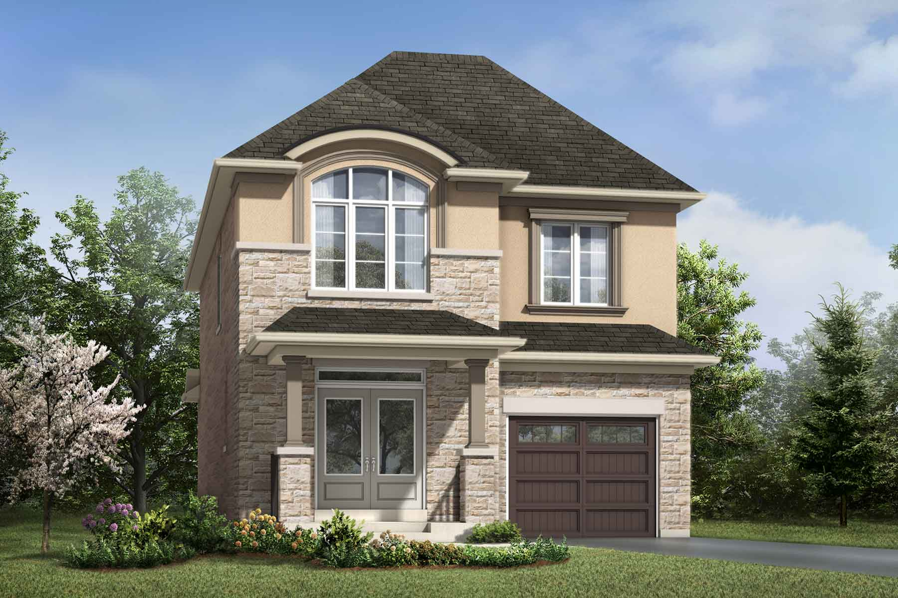Holbrook Plan Elevation Front at Hawthorne South Village Sixteen Mile Creek in Milton Ontario by Mattamy Homes