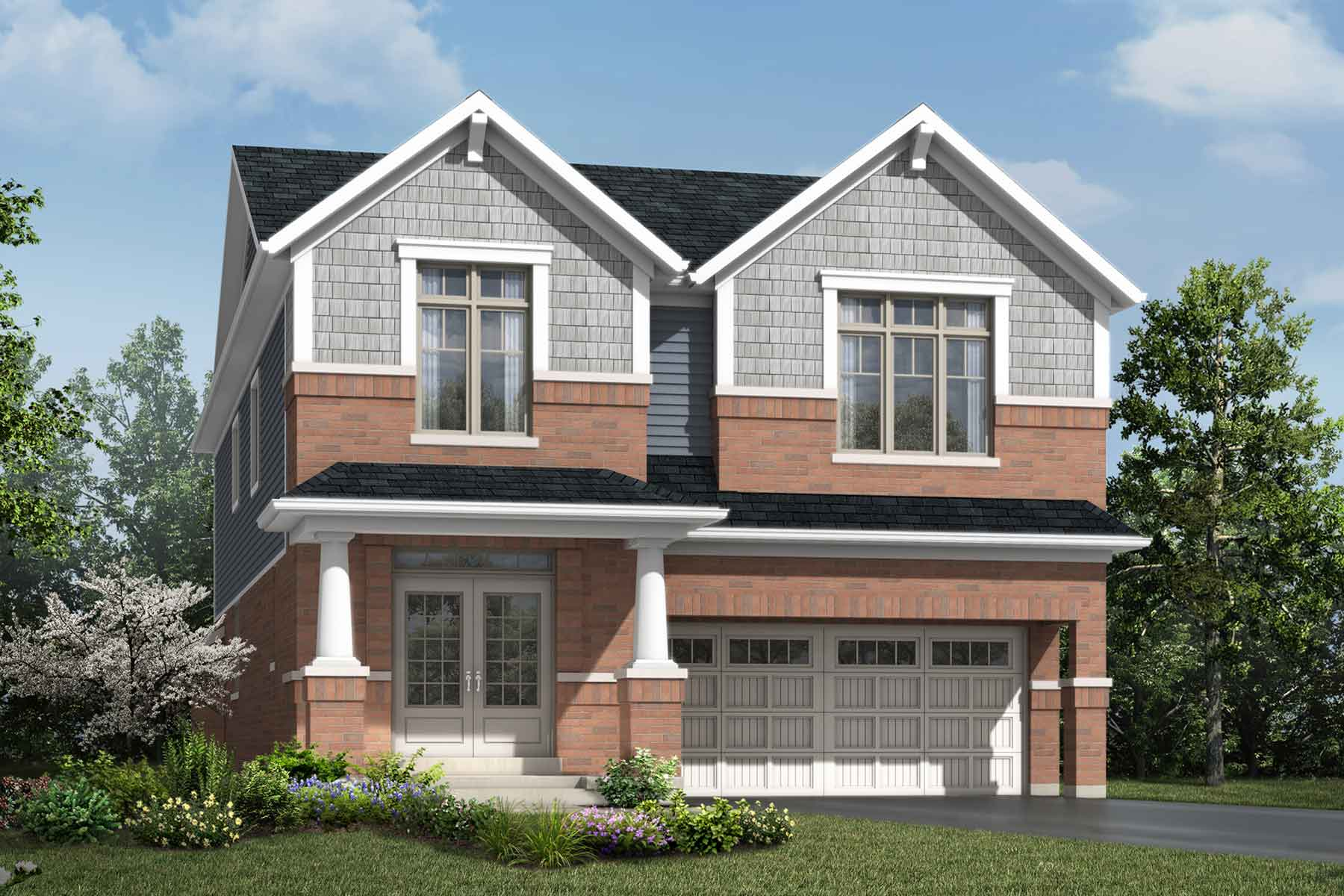 Saugeen Plan Elevation Front at Hawthorne South Village Sixteen Mile Creek in Milton Ontario by Mattamy Homes