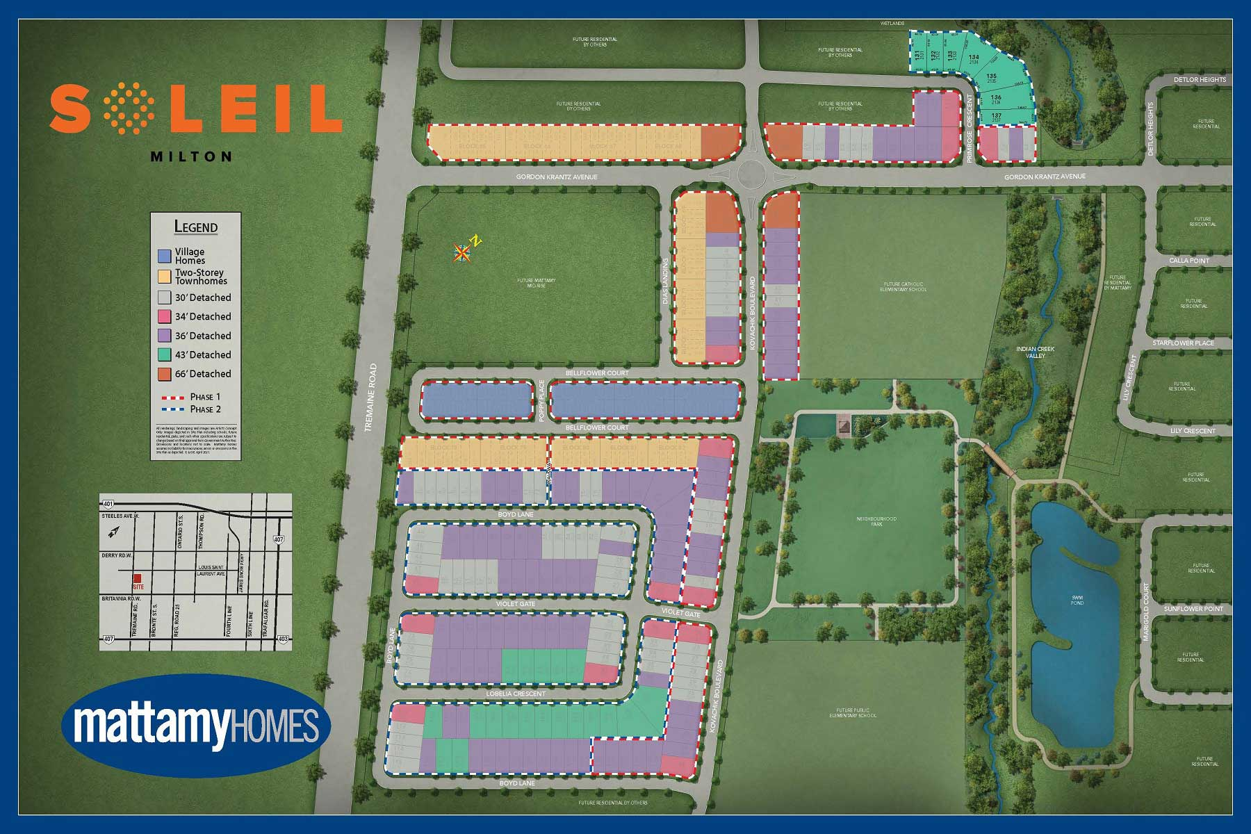 Soleil Lot Map in Milton Ontario by Mattamy Homes