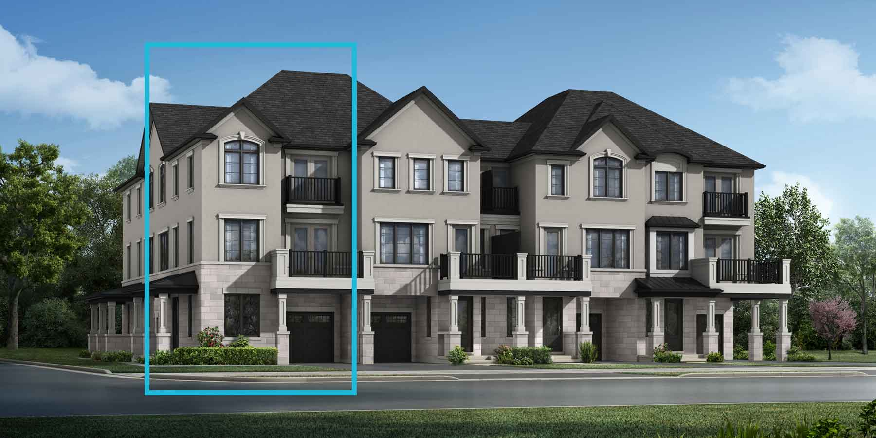 Brondesbury Corner Plan TownHomes at The Nine in Mississauga Ontario by Mattamy Homes