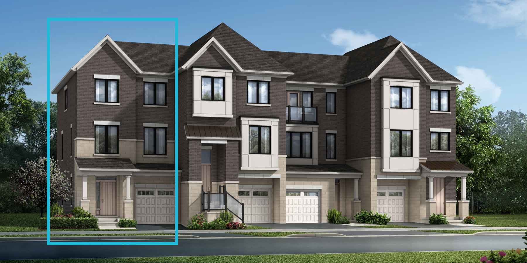 Paddington End Plan TownHomes at The Nine in Mississauga Ontario by Mattamy Homes