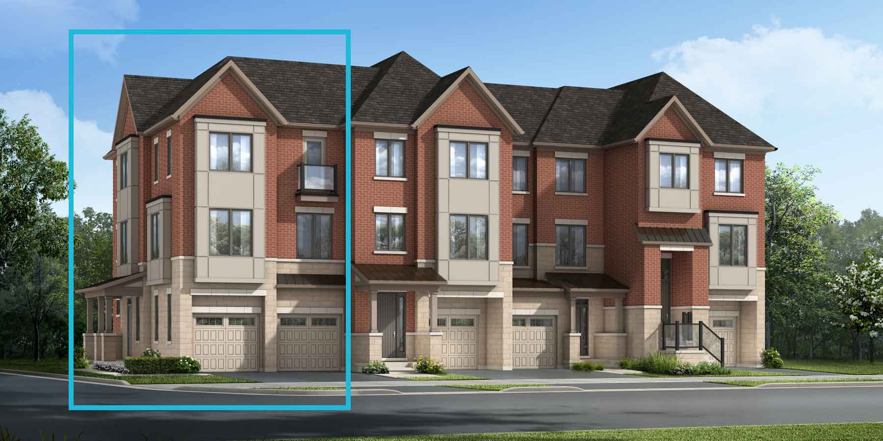 Stonebridge Corner Plan TownHomes at The Nine in Mississauga Ontario by Mattamy Homes