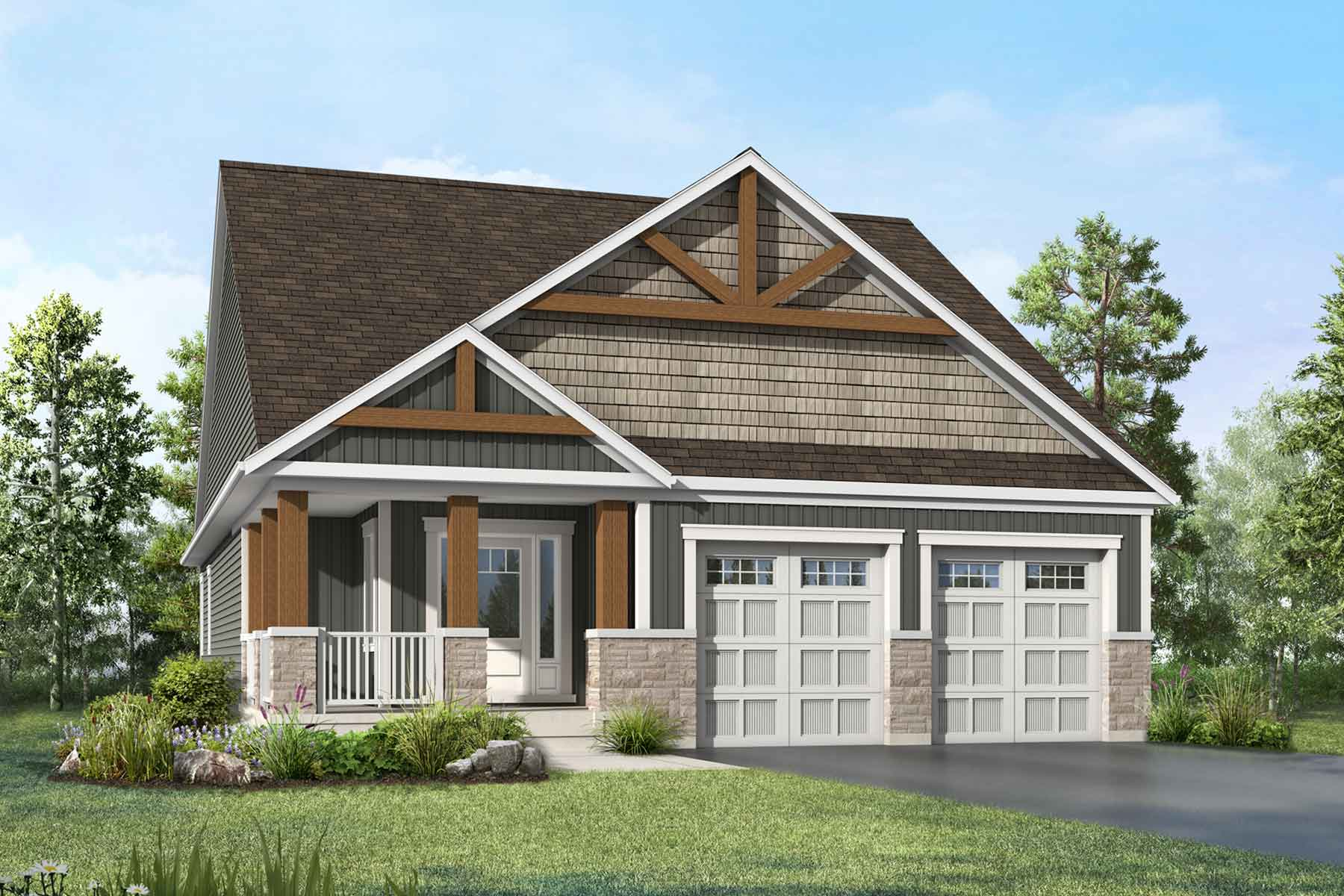 Chestnut Plan Elevation Front at White Pines in Bracebridge Ontario by Mattamy Homes