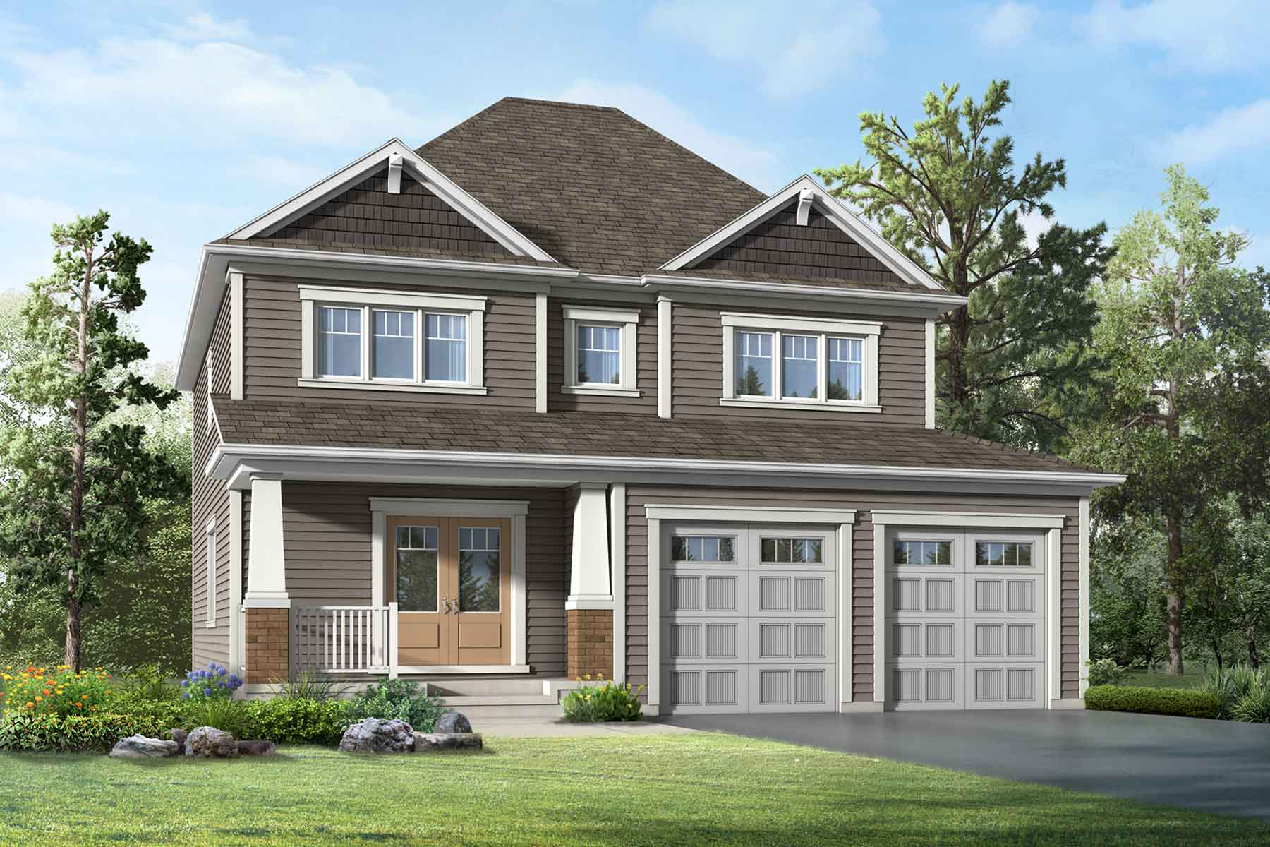 Willow Plan Elevation Front at White Pines in Bracebridge Ontario by Mattamy Homes
