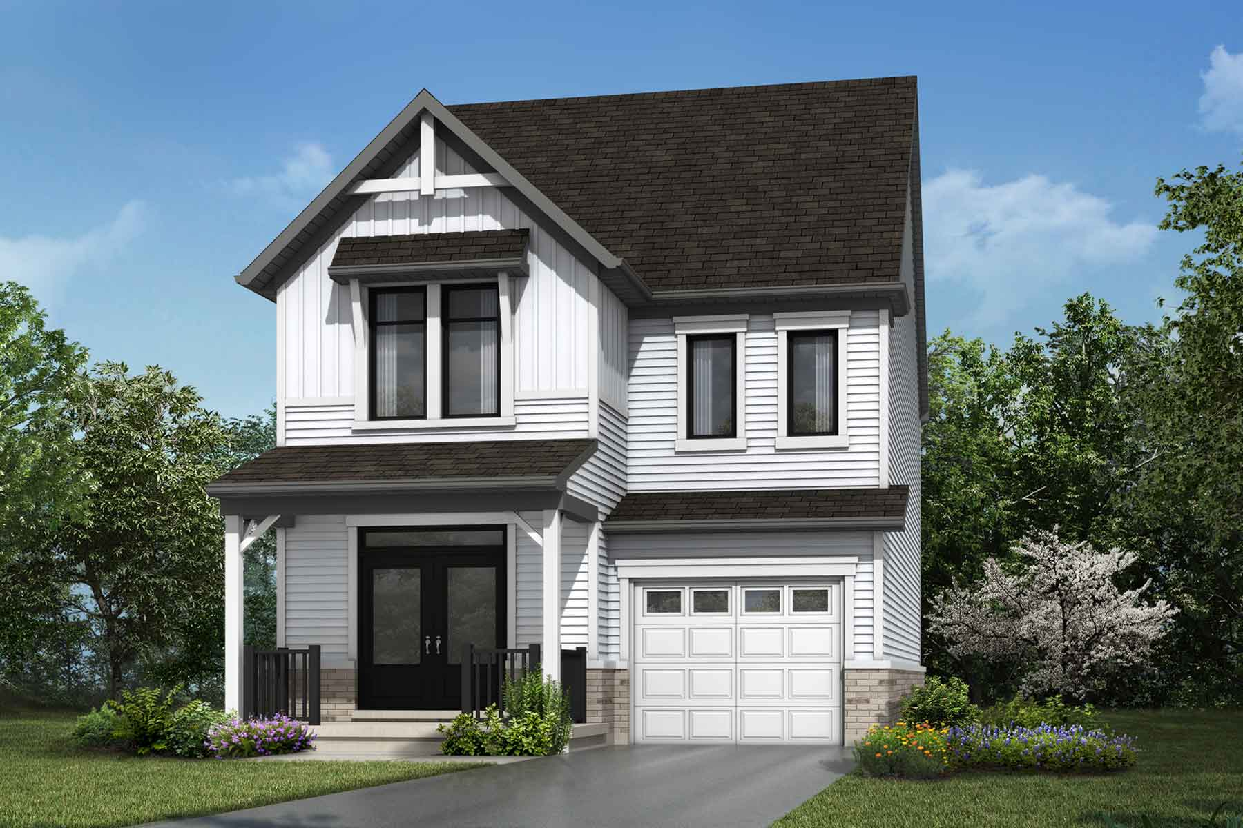 The Dundee Plan Elevation Front at Wildflower Crossing in Kitchener Ontario by Mattamy Homes