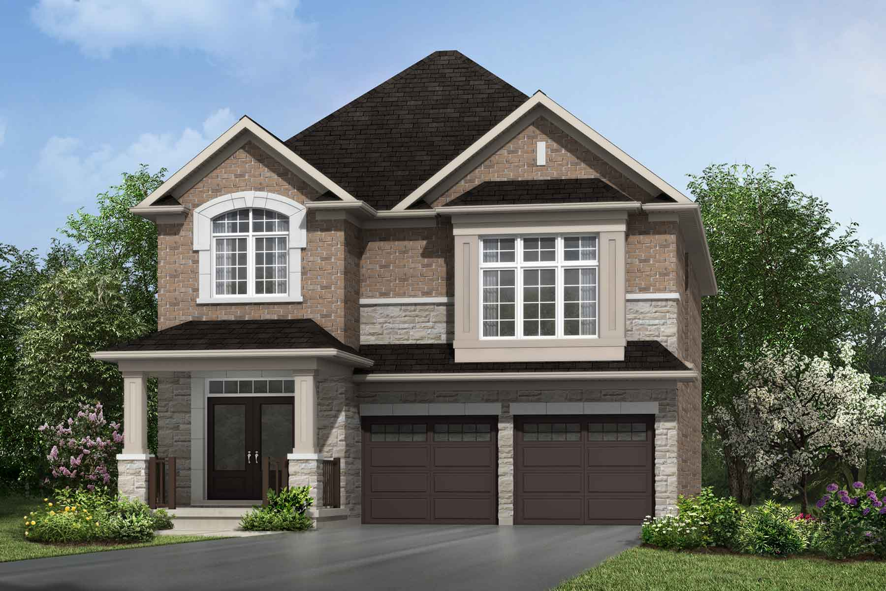 The Millbank End Plan Elevation Front at Wildflower Crossing in Kitchener Ontario by Mattamy Homes