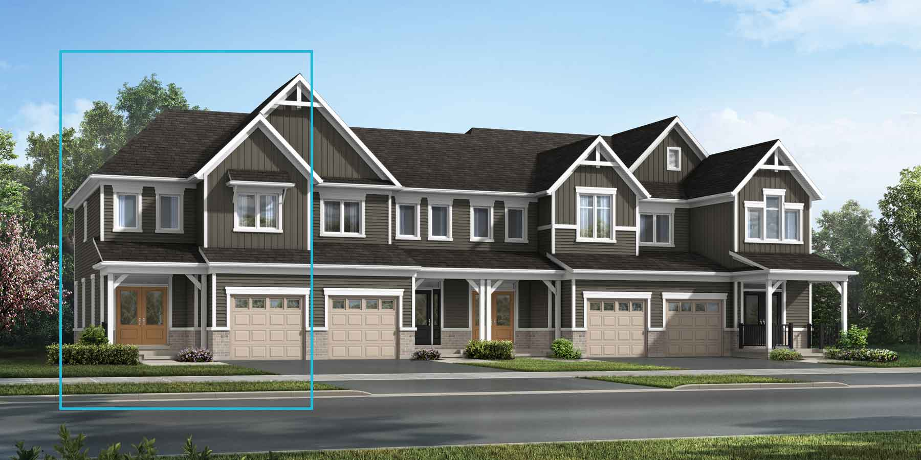 The Millbank End Plan TownHomes at Wildflower Crossing in Kitchener Ontario by Mattamy Homes