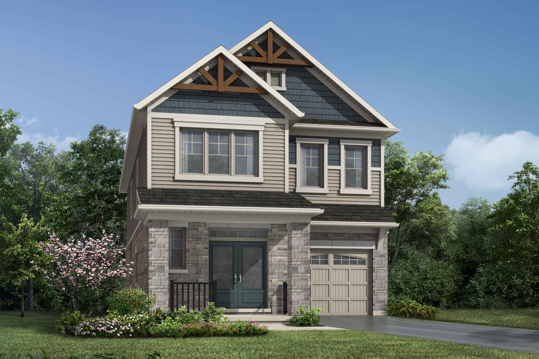 The Oxford Plan Elevation Front at Wildflower Crossing in Kitchener Ontario by Mattamy Homes