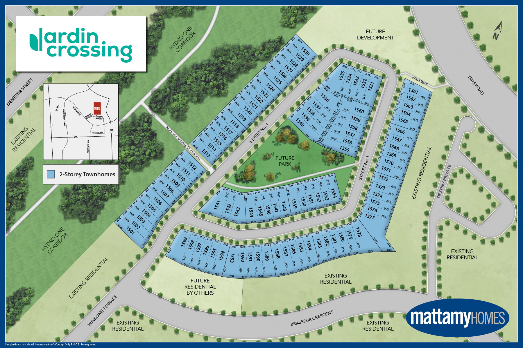 Jardin Crossing Lot Map in Orléans Ontario by Mattamy Homes