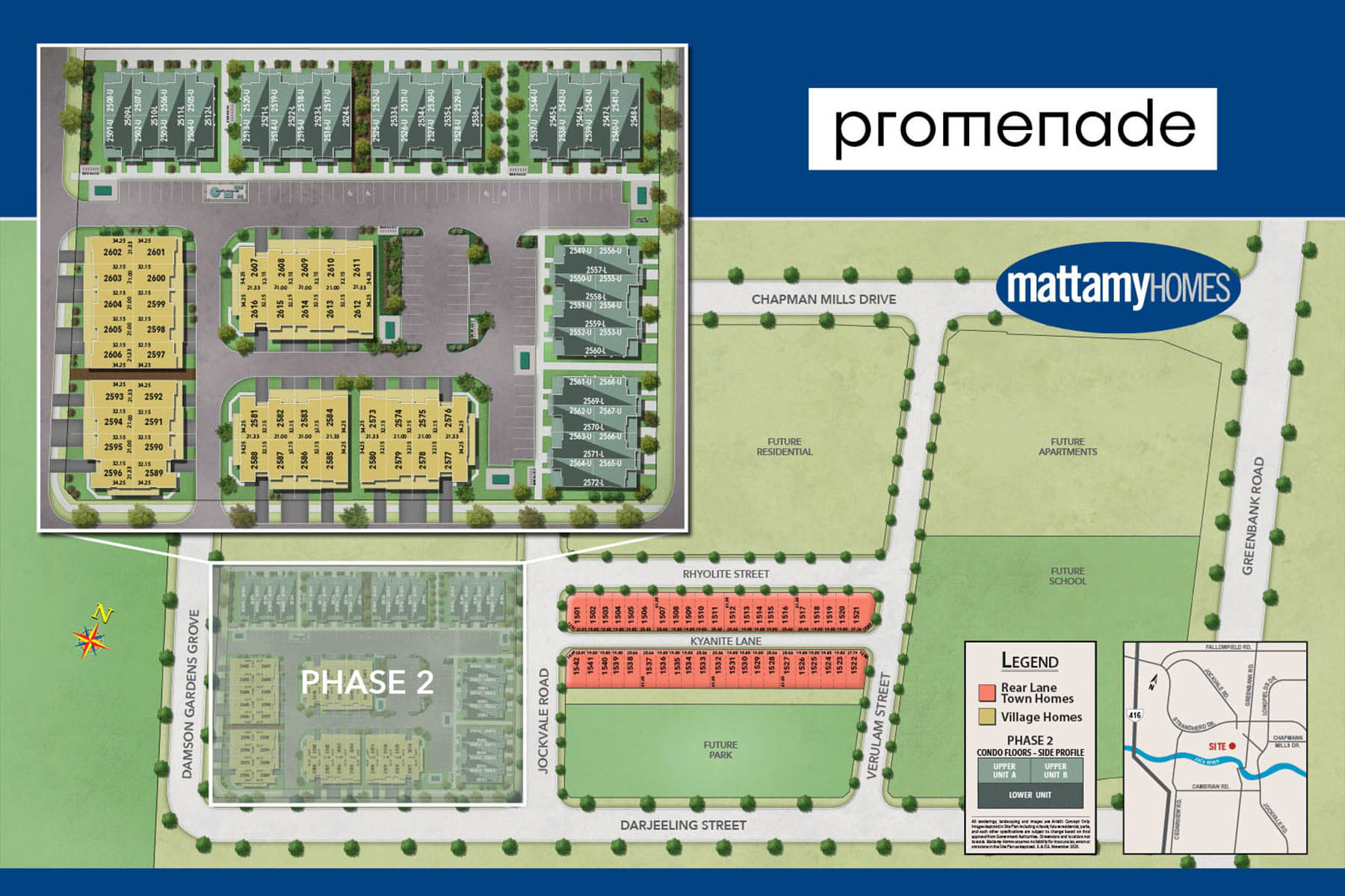 Promenade Lot Map in Barrhaven Ontario by Mattamy Homes