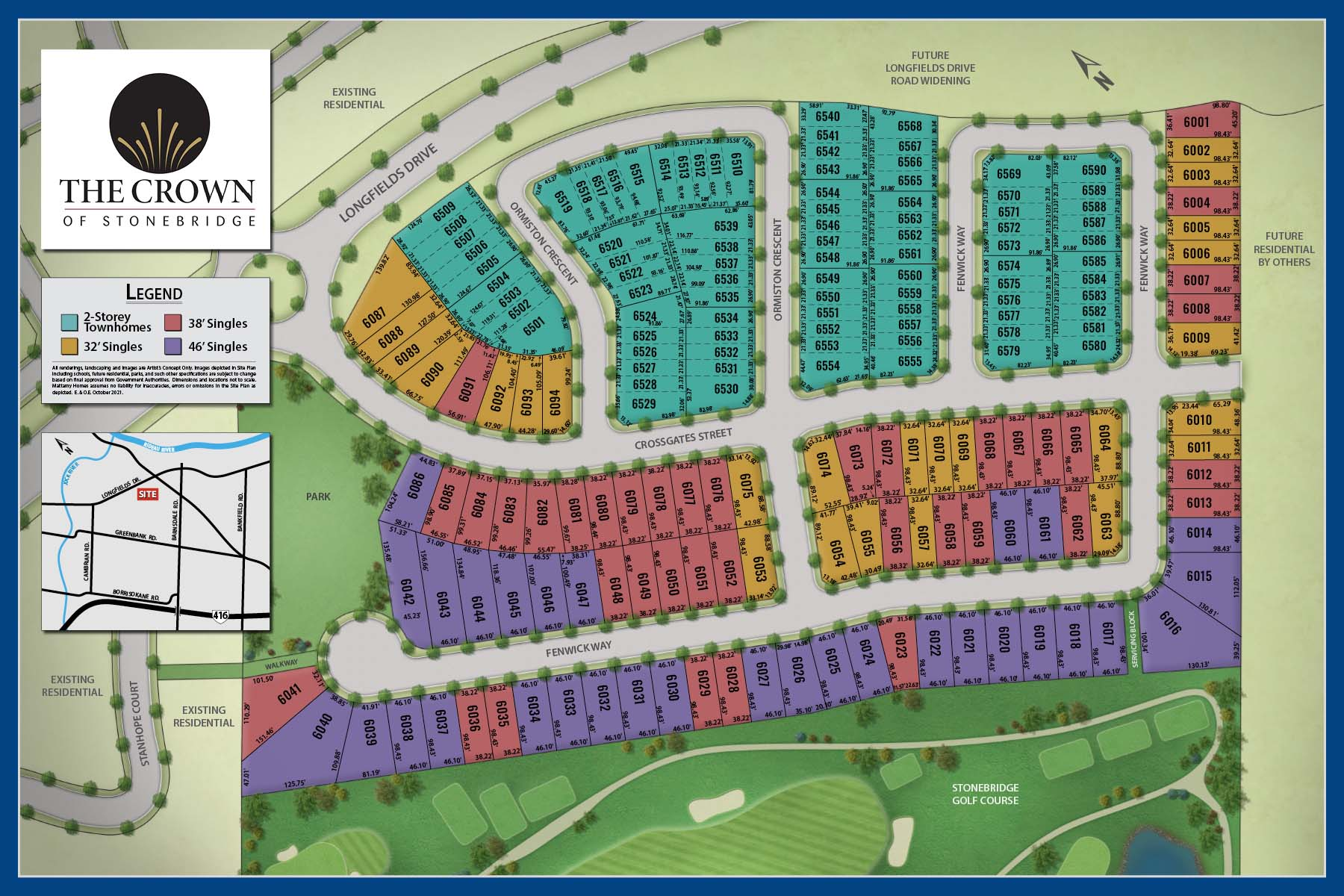 Crown of Stonebridge Lot Map in Barrhaven Ontario by Mattamy Homes