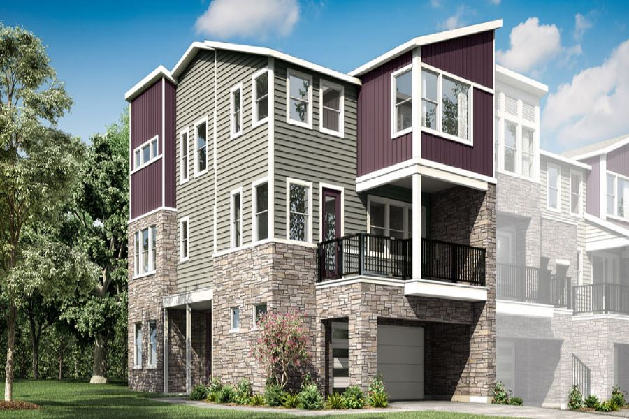 Chelsea Plan Elevation Front at Aria at The Park in Charlotte North Carolina by Mattamy Homes