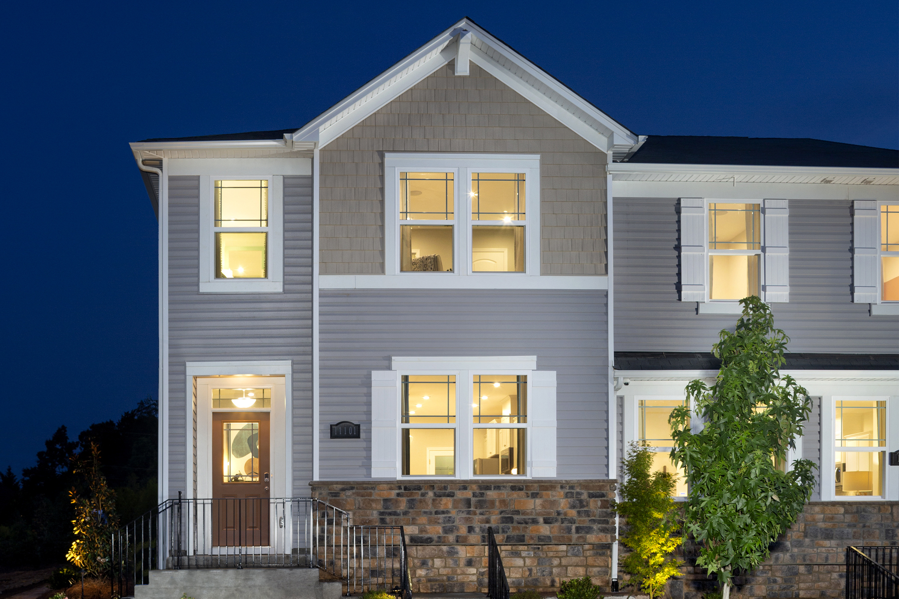 Rodric Plan CLT_GAL_Rodric_Model_Exterior_Twilight_1800x1200 at Galloway Park in Charlotte North Carolina by Mattamy Homes