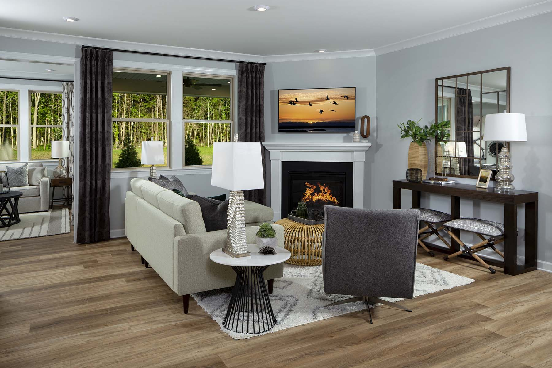 Presley Plan Greatroom at Sonata at Mint Hill in Mint Hill North Carolina by Mattamy Homes