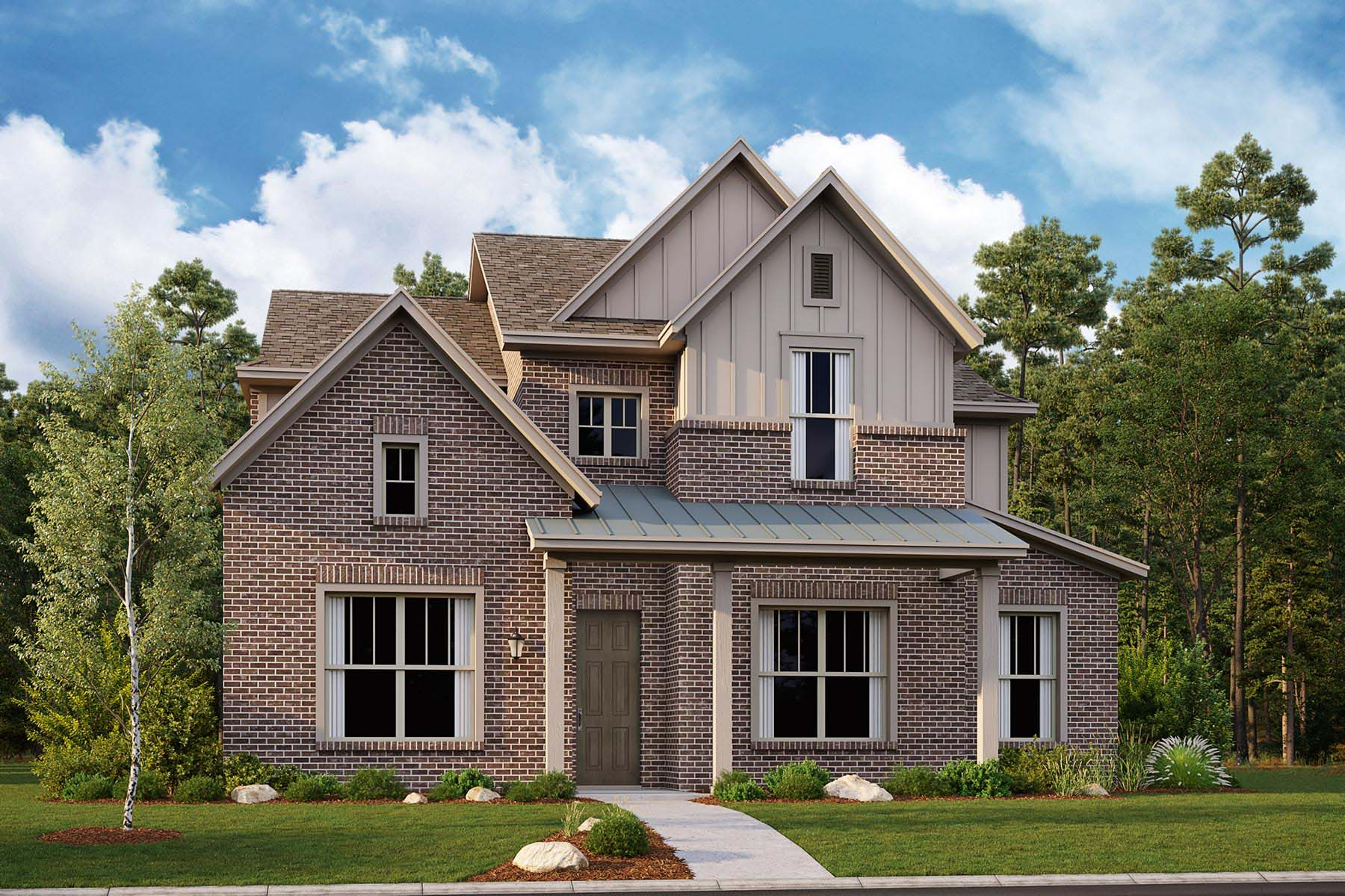 Regent Plan Elevation Front at Kensington Place in Farmers Branch Texas by Mattamy Homes