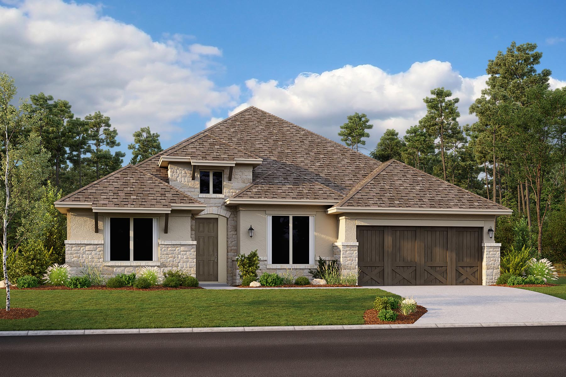 Barrett II Plan Elevation Front at Villages of Creekwood in Frisco Texas by Mattamy Homes