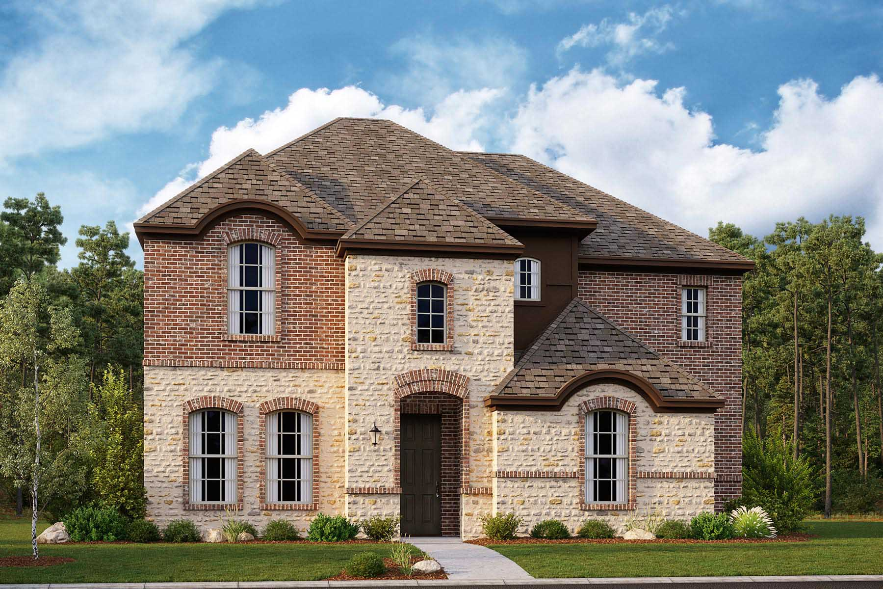 Hampshire II Plan Elevation Front at Villages of Creekwood in Frisco Texas by Mattamy Homes