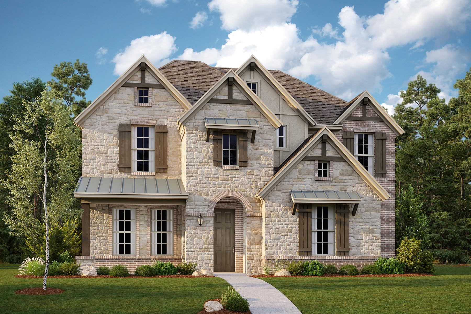 Lennox II Plan Elevation Front at Villages of Creekwood in Frisco Texas by Mattamy Homes