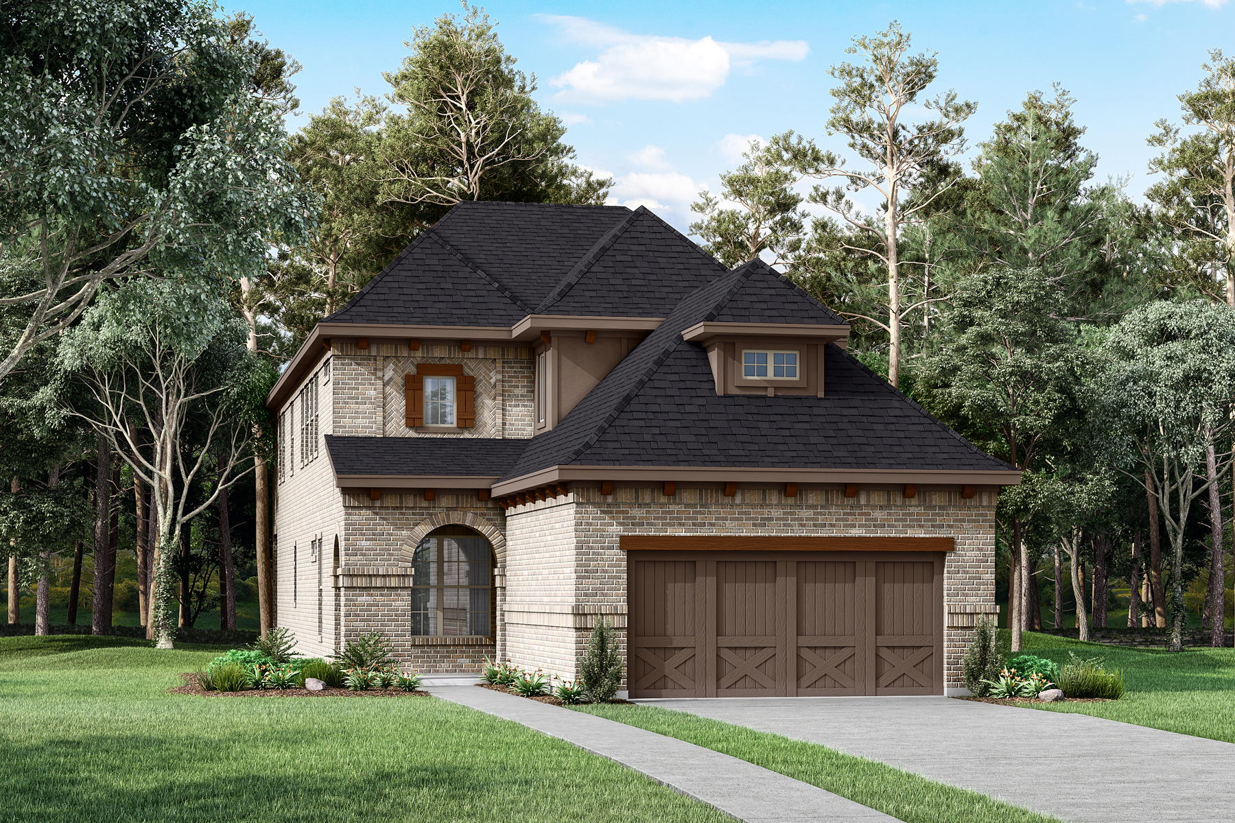 Chalet Plan Elevation Front at Prairie Commons in Plano Texas by Mattamy Homes