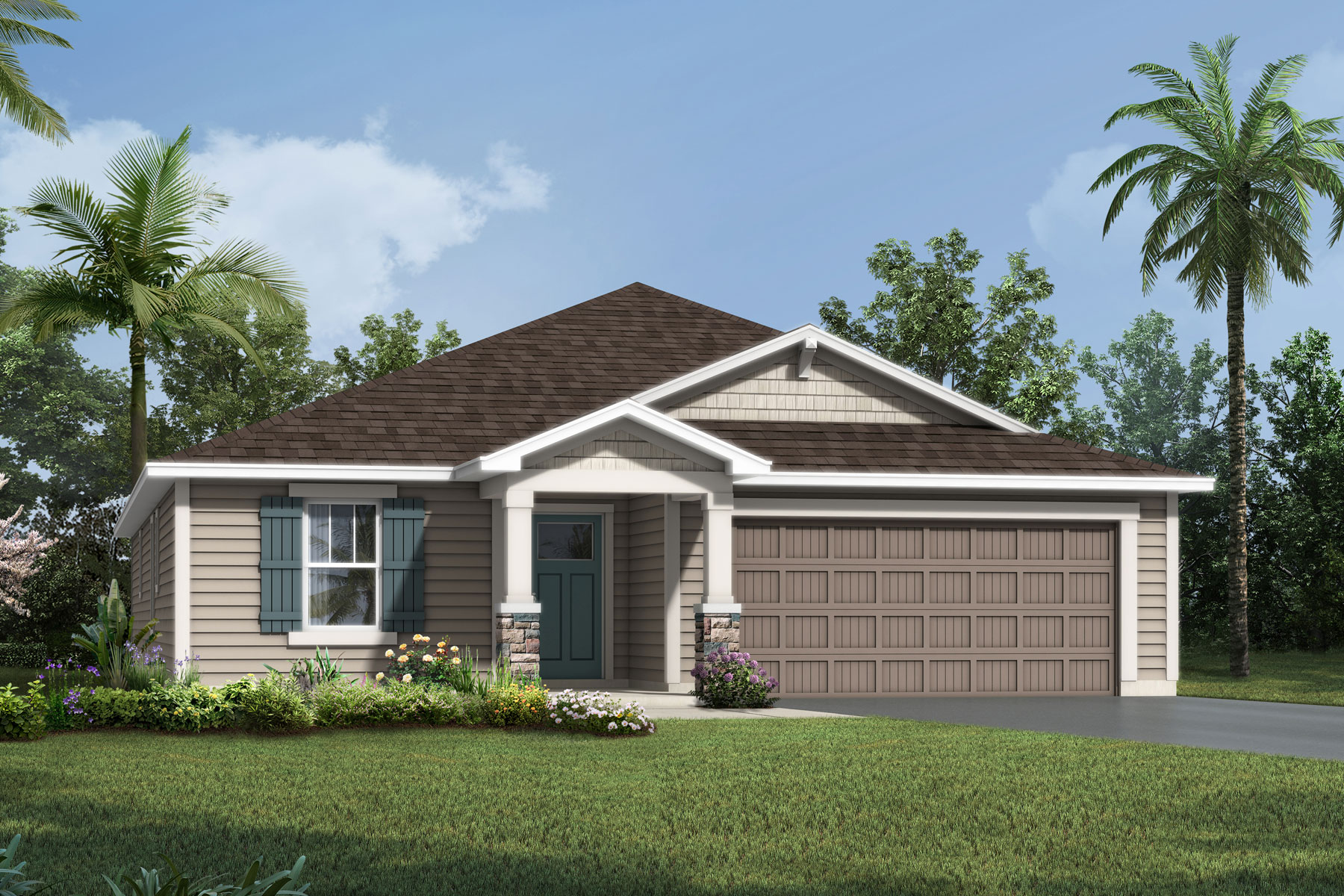 Cedar Plan Elevation Front at Wells Creek in Jacksonville Florida by Mattamy Homes