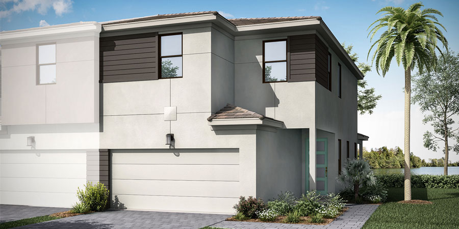 Dakota Plan ElevationContemporary_Saddlewood_Dakota_End_900x450 at Saddlewood in Lake Worth Florida by Mattamy Homes