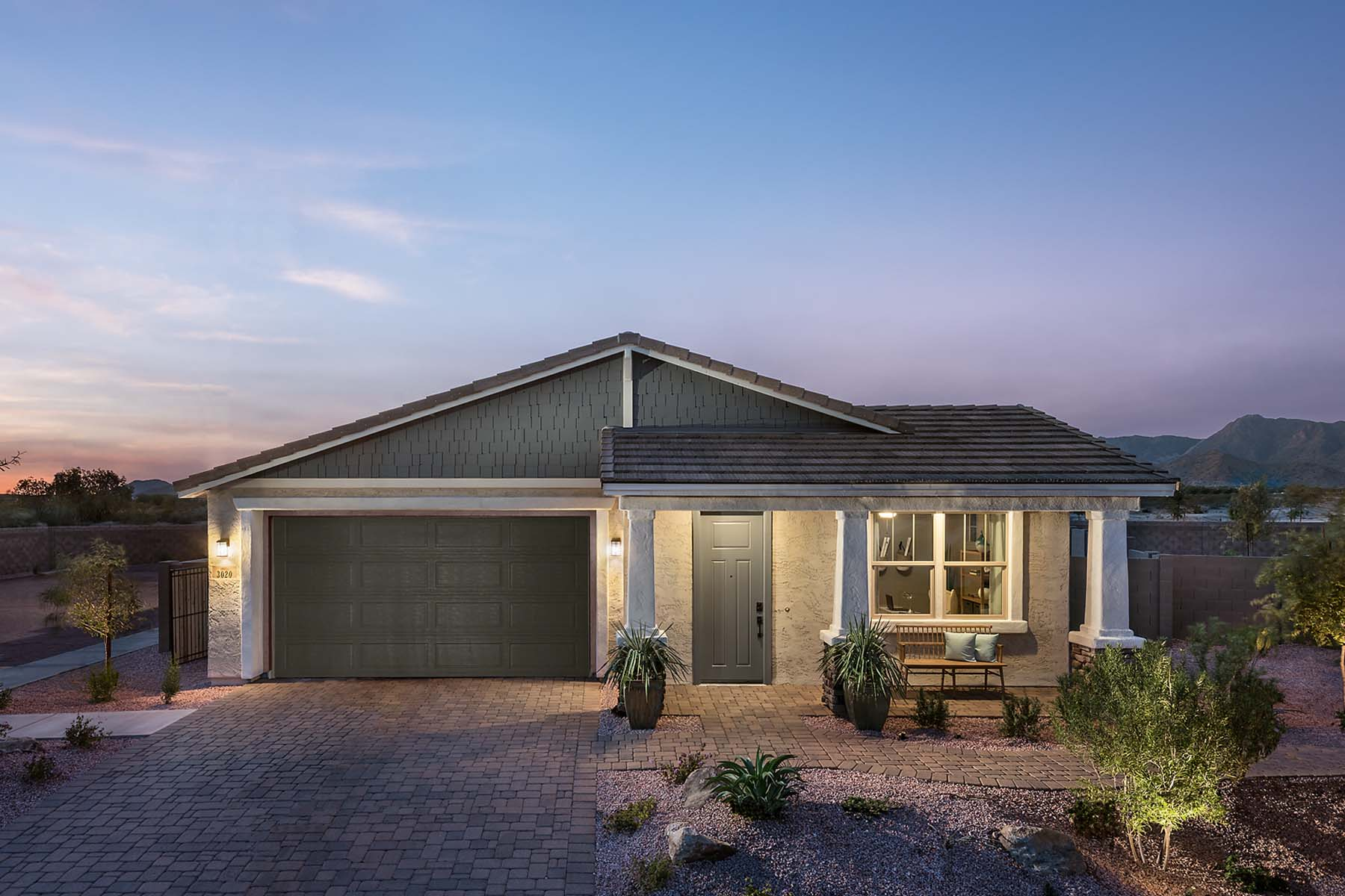 Everly Plan Elevation Front at Brookside at Arroyo Seco in Buckeye Arizona by Mattamy Homes