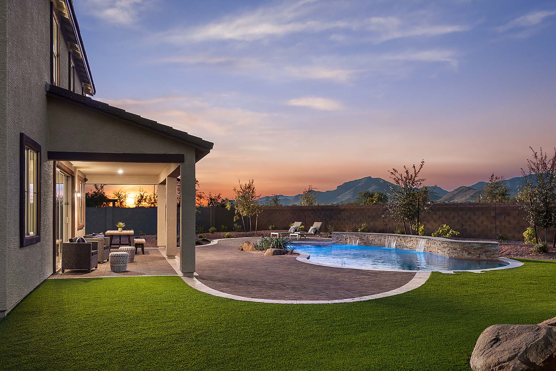 Willowleaf Plan Elevation Back Side at Brookside at Arroyo Seco in Buckeye Arizona by Mattamy Homes