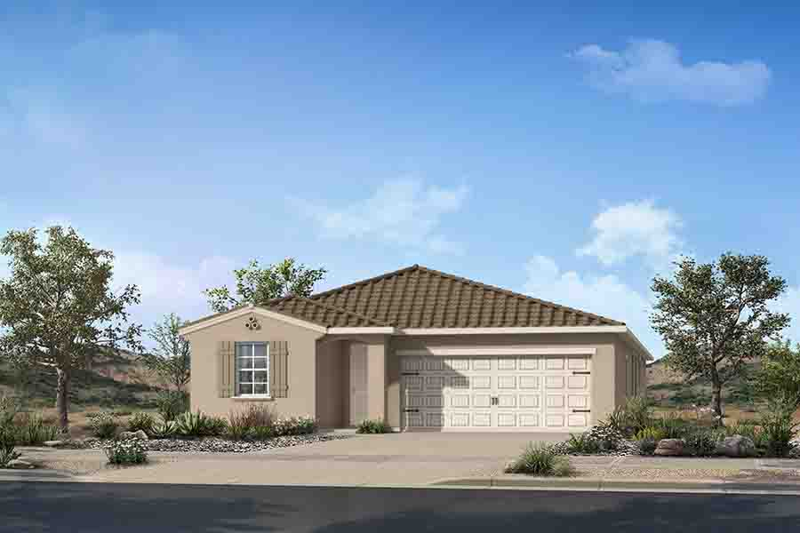 Elwood Plan Elevation Front at Crestwood at Canyon Trails in Goodyear Arizona by Mattamy Homes