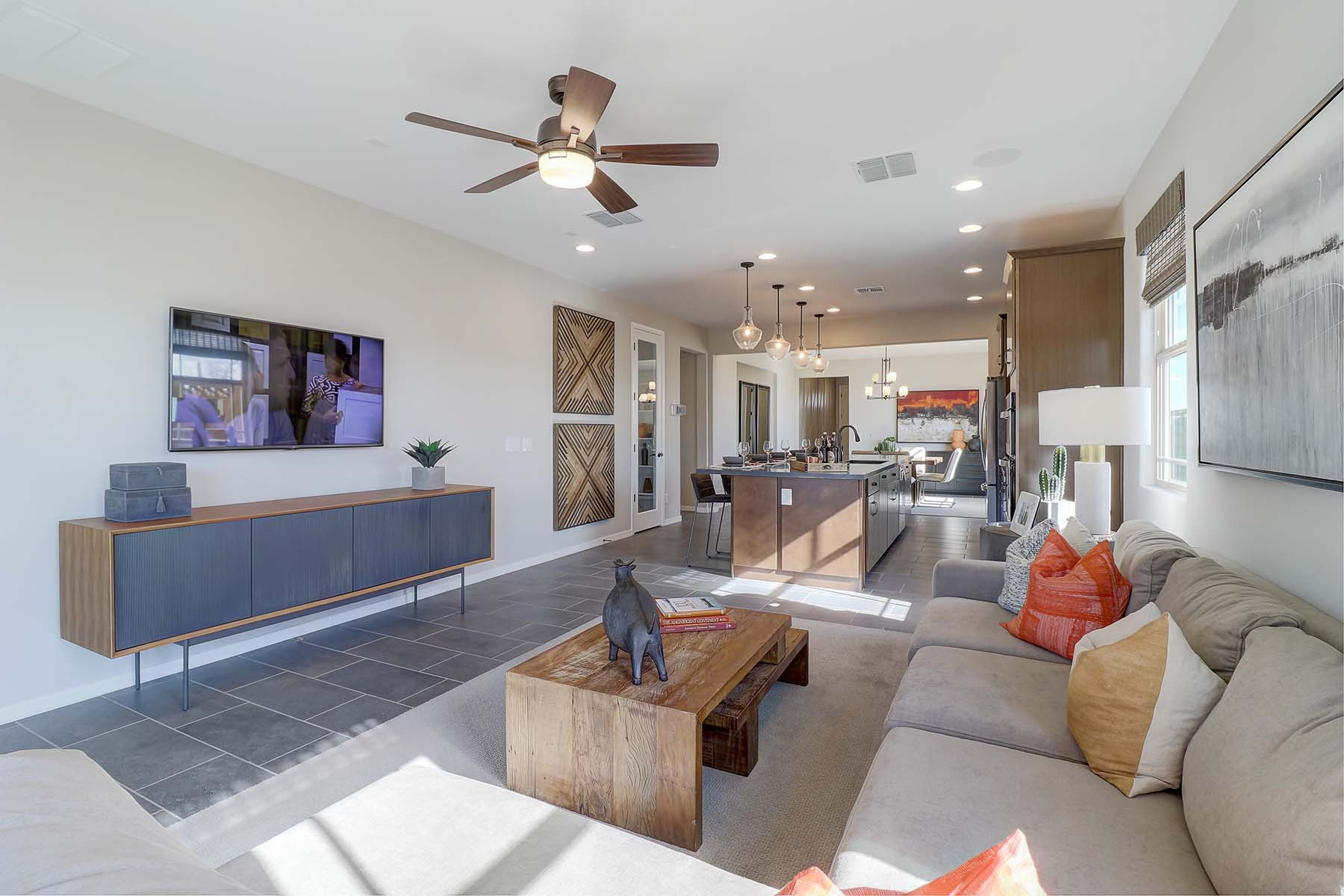 Elwood Plan Greatroom at Crestwood at Canyon Trails in Goodyear Arizona by Mattamy Homes
