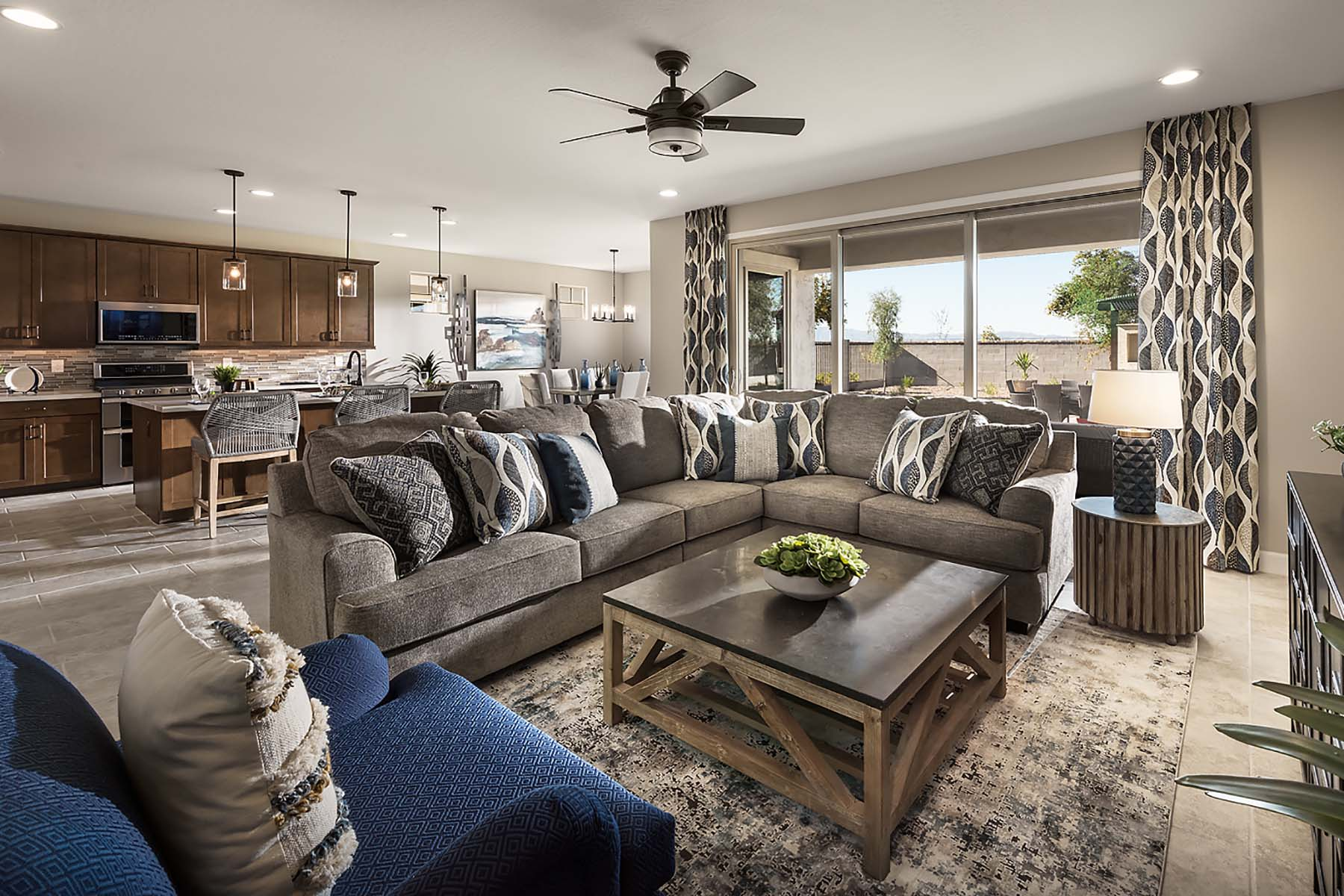 Leander Plan Greatroom at Vista Diamante at Camelback Ranch in Phoenix Arizona by Mattamy Homes
