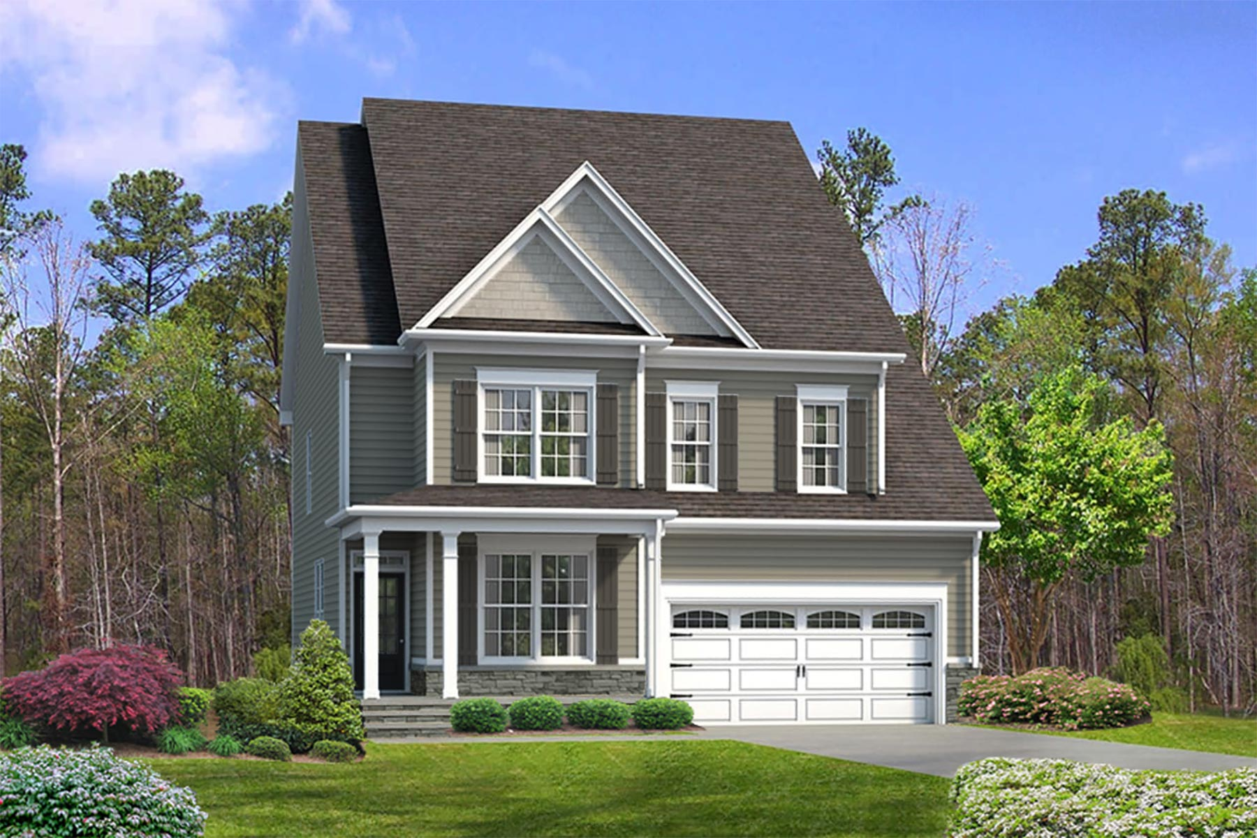 Juniper Plan Elevation Front at Ballentine Place in Holly Springs North Carolina by Mattamy Homes