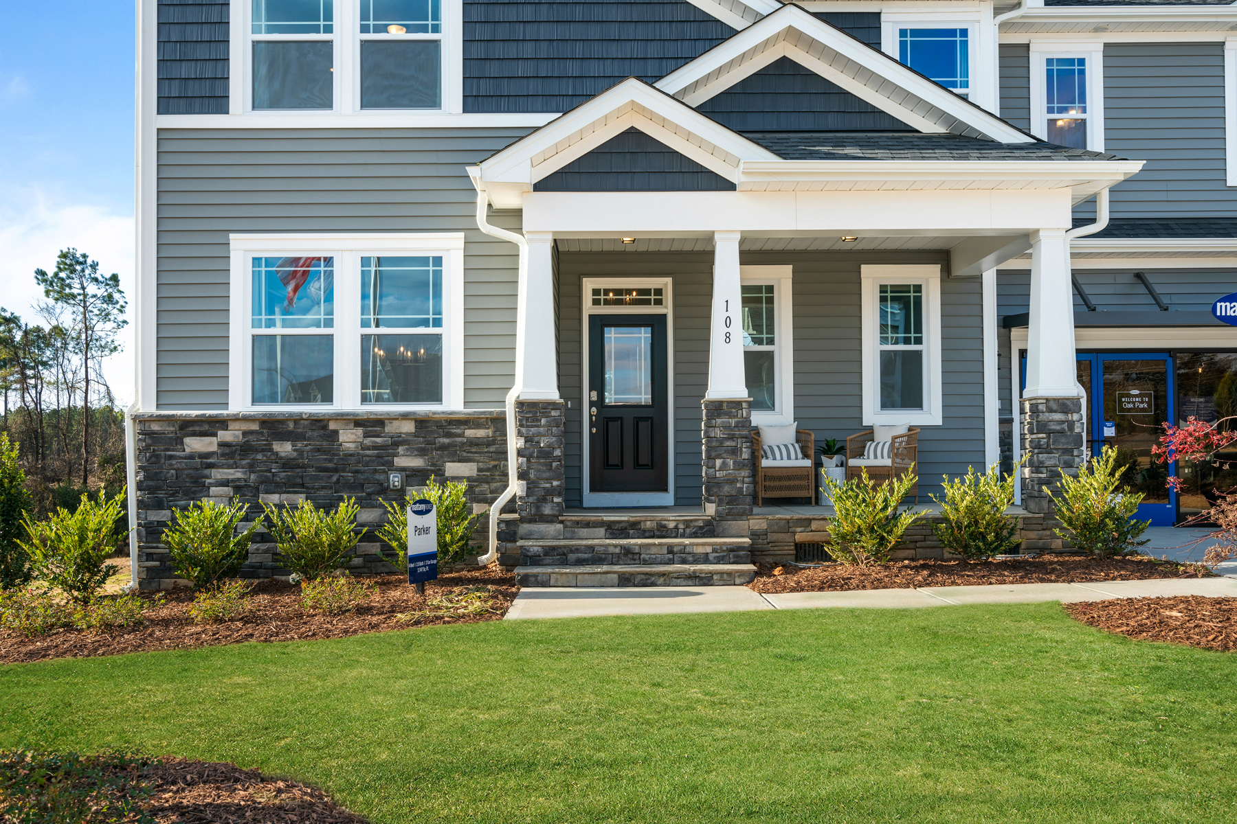 Parker Plan Front Porch at Ballentine Place in Holly Springs North Carolina by Mattamy Homes